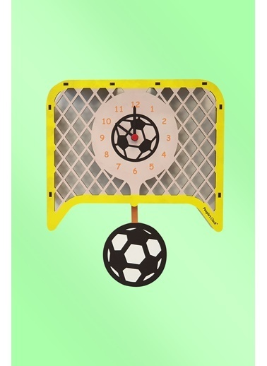 Peoples Clock Futbol Sallanan Sarkaçlı Çocuk Odası Duvar Saati Renkli